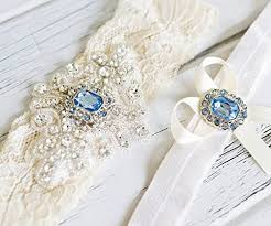 Navy Blue 2 <b>wedding bridal</b> garters set w <b>3</b>-key charm n crystals ...