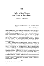 rules of the game  an essay in two  s   springerinside