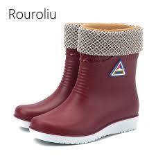 <b>Rouroliu Women Winter Mid Calf</b> Warm Rainboots Non Slip Work ...