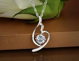 "1.5 CT Diamond <b>Sterling Silver</b> Necklace 18""<b>S925</b> Chain love heart ..."