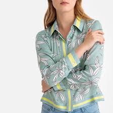 <b>Блузка</b> с цветочным <b>рисунком</b> и длинными рукавами синий ...