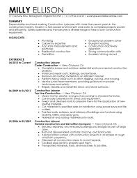 resume objective for construction worker equations solver cover letter sle resume for construction worker