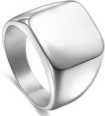 Solid Polished <b>Stainless Steel Band</b> Biker <b>Men</b> Signet Ring Black ...
