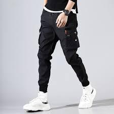 <b>Cargo Pants Men Solid</b> Color Black Loose Casual Jogger Pocket ...