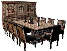 egyptian revival art deco dining set two tier six door cabinet art deco dining furniture