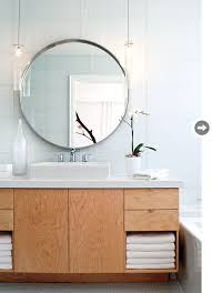 beautiful white glass subway tile round mirror wooden vanity bathroom vanity lights pendant lamps