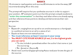 synthesis essay see chapterin the language of composition for  basicsminutes to question and sources minutes to write the essay