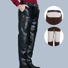 mens pu <b>leather</b> motorcycle biker <b>pants</b> windproof <b>winter thick</b> warm ...