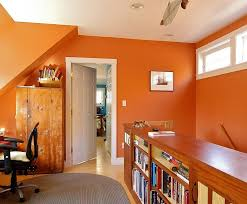 bright home office design. small office in baked clay orange has a bright cheerful appeal design joseph home s