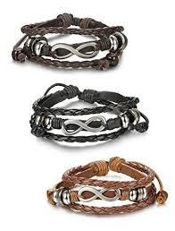 3 Pcs Leather <b>Charm Bracelets</b> for <b>Men Women</b> Braided Cuff ...