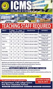 job in peshawar icms college system job teaching staff 12