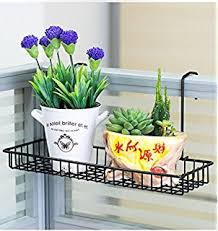 chris wang iron wire outdoor rectangle plant caddy patio fence deck porches railing shelf black modern metal hanging office cubicle