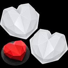 3D Diamond Heart Chocolate Mold Geometric Love ... - Amazon.com