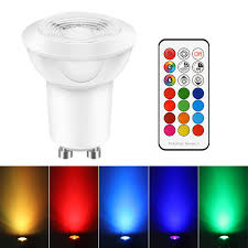3W <b>E27</b> GU10 AC 85 265V <b>RGBW</b> LED Bulb <b>Remote Control</b> Stage ...