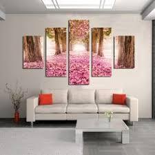 Trees Pink Flower 5 <b>Piece</b> Cheap Modern <b>HD Print</b> Cuadros ...