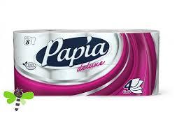 <b>Туалетная бумага</b> 4-х слойная <b>Papia Deluxe</b> 8 рулонов
