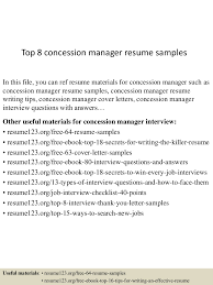 concession manager cover letter