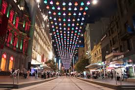 Melbourne Street all lit up and welcoming