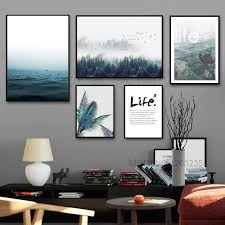 Landscape <b>Painting</b> Forest <b>Sea Nordic Poster Posters</b> And Prints ...