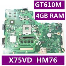 <b>X75VD</b> 4GB RAM <b>GT610M</b> 8pcs Video Memory <b>Mainboard</b> REV 2.0 ...