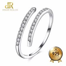 <b>DR</b> Simple Two Rows Shiny Zircon <b>925 Sterling</b> Silver Rings for ...