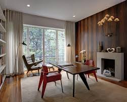 mid century office design with fire place century office
