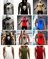 Mens Designer T Shirts <b>Skull Bodybuilding Fitness Stringer</b> Men ...