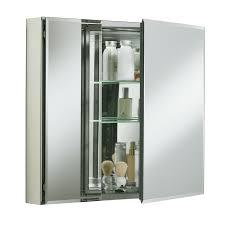Recessed Bathroom Mirror Cabinets Rectangle Recessed Aluminum Medicine Cabinet Half Beveled