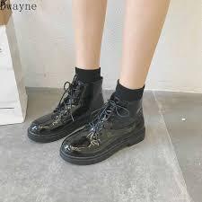 <b>New</b> black <b>Martin</b> boots female British wind retro <b>patent leather</b> ...