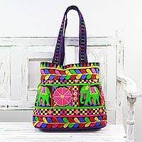 <b>Embroidered</b> Tote with <b>Floral Elephant</b> Motifs from India - <b>Elephant</b> ...