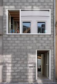 House Design Alluring Concrete House Designs With Glass Wall As    Concrete Block House Architecture Material A Small Concrete House On Small And Narrow Lot In Two