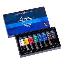 <b>Акриловые краски</b> в наборе Ладога 8 цветов в картонном пенале ...