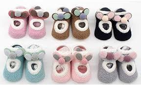 3 Pair <b>Random</b> Color <b>Baby Socks</b> Rubber Soles Infant Newborn ...