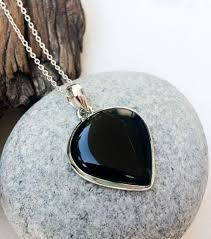 Black <b>Onyx pendant</b>, Upside down teardrop shape <b>Onyx</b>, <b>natural</b> ...