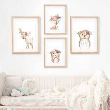 Pink Peonies <b>Woodland Animals</b> Nursery Wall Art <b>Canvas</b> Painting ...