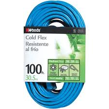 Woods 16/3 Outdoor Cold-<b>Flexible</b> SJTW <b>Extension Cord</b>, Blue, 100 ...