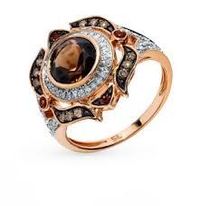 Золотое <b>кольцо</b> с коньячными <b>бриллиантами</b>, сапфирами ...