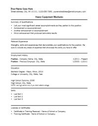 construction equipment mechanic resume  resume