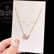 <b>S925 silver needle</b> swan earrings female pink swan non-fading ...
