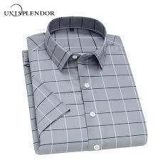 <b>Unisplendor Summer Men Short</b> Sleeve Shirts Plaid Striped Man ...