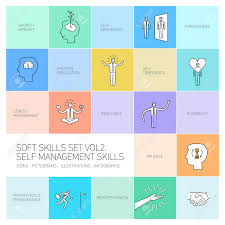 self management soft skills vector linear icons and pictograms self management soft skills vector linear icons and pictograms set black on colorful background stock vector