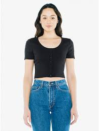 Cotton 2x2 Button Front <b>Short Sleeve</b> Crop <b>Top</b> | American Apparel