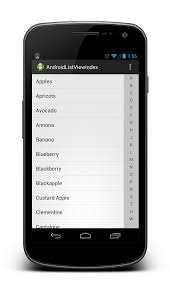 android listview alphabetical side index android open android listview alphabetical index