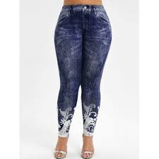 [42% OFF] <b>2019 Printed</b> High Waisted <b>Plus Size</b> Jeggings In DEEP ...