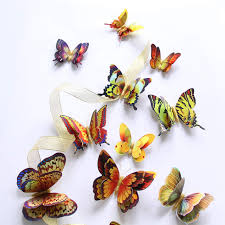 Online Shop <b>12Pcs</b> Gold/Silver <b>Double</b> layer <b>3D</b> Butterfly Wall ...