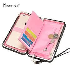 MINOFIOUS Wallet <b>Female Women</b> Bow <b>PU Leather Solid</b> Card ...