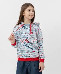 <b>Толстовка с капюшоном</b> Button Blue для девочек купить, голубой ...