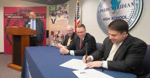 high schoolers to get head start on college news from the from left at today s announcement are perry meridian high school principal rolland abraham perry township superintendent thomas little jr