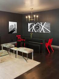 room fabio black modern: photos hgtv modern gray dining room with black table red chairs and benches hotel design