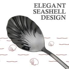 6x Colorful Shell Spoon <b>Stainless Steel Dessert Ice</b> Cream Tea ...